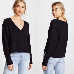 Free People Coco V-Neck Knit Sweater in Black